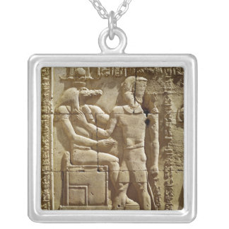 Relief of Sobek and Ptolemy VI Philometor Silver Plated Necklace
