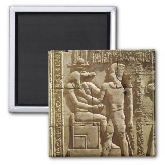 Relief of Sobek and Ptolemy VI Philometor Square Magnet