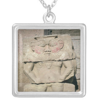 Relief of the Egyptian household god, Bes Silver Plated Necklace