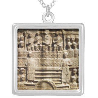 Relief on the base of the Obelisk of Theodosius Silver Plated Necklace