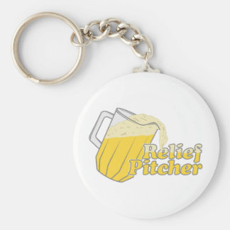 Relief Pitcher Beer Baseball Basic Round Button Key Ring