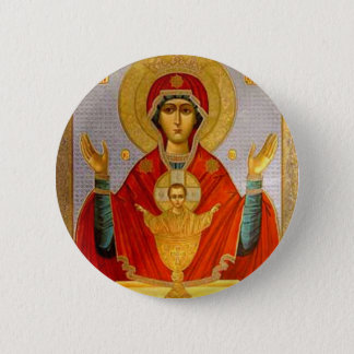 religeous icon holy mary and child 6 cm round badge