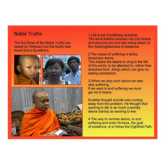 Religion, Buddhism, Noble truths Postcard