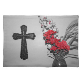 Religion cross flowers place mat