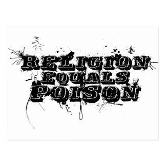 Religion Equals Poison Postcard