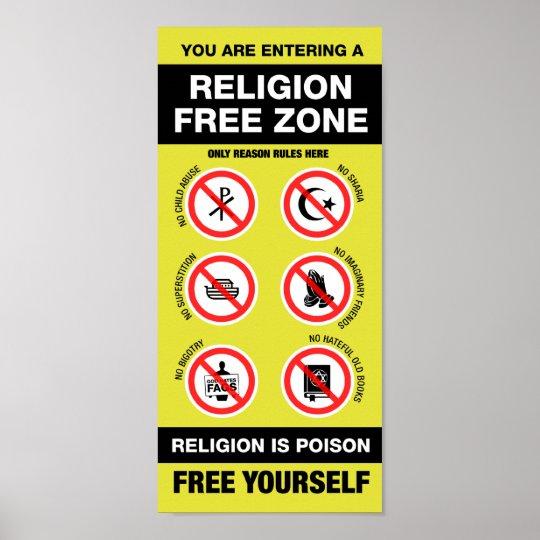 Religion Free Zone Poster