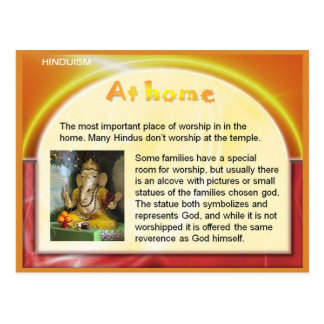 Religion, Hinduism, India,Worship at home Postcard