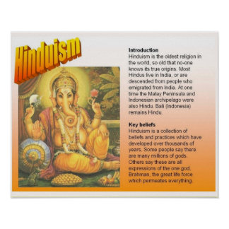 Religion, Hinduism, introduction, key beliefs Poster