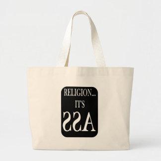 religion is backwards canvas bag