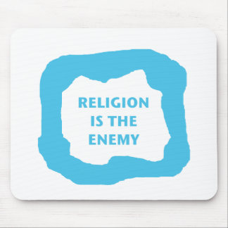 Religion is the enemy, blue .png mouse pad
