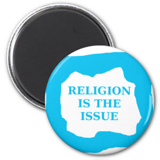 Religion is the issue, blue .png magnets