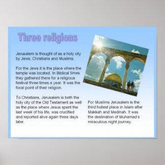 Religion, Jerusalem, Three religions Posters