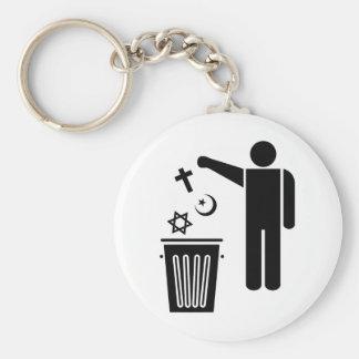 Religion Wastebin Basic Round Button Key Ring