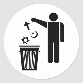 Religion Wastebin Round Sticker