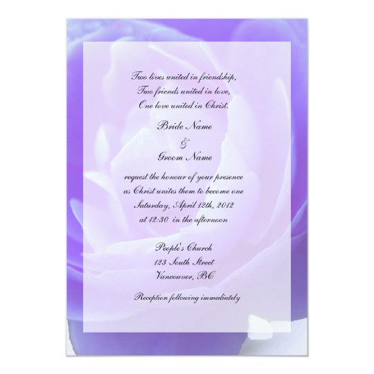 Religions wedding,purple rose flower card