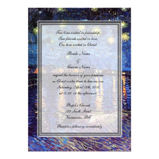 religion's wedding, van Gogh starry night Personalized Announcement