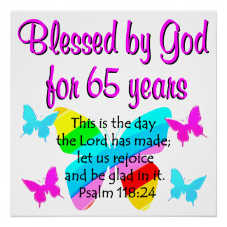 RELIGIOUS 65TH BIRTHDAY BUTTERFLY DESIGN