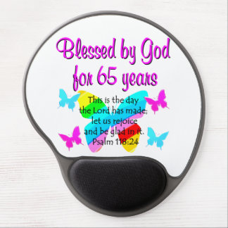 RELIGIOUS 65TH BIRTHDAY BUTTERFLY DESIGN GEL MOUSE MAT