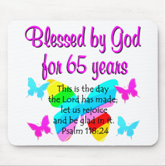 RELIGIOUS 65TH BIRTHDAY BUTTERFLY DESIGN MOUSE PAD