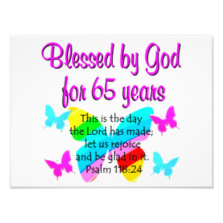 RELIGIOUS 65TH BIRTHDAY BUTTERFLY DESIGN PHOTO PRINT
