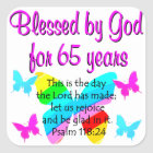 RELIGIOUS 65TH BIRTHDAY BUTTERFLY DESIGN SQUARE STICKER