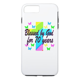 RELIGIOUS 70TH BIRTHDAY CROSS DESIGN iPhone 7 PLUS CASE