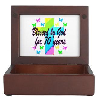 RELIGIOUS 70TH BIRTHDAY CROSS DESIGN MEMORY BOX