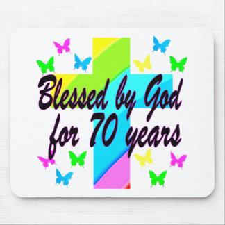 RELIGIOUS 70TH BIRTHDAY CROSS DESIGN MOUSE PAD