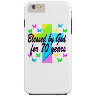 RELIGIOUS 70TH BIRTHDAY CROSS DESIGN TOUGH iPhone 6 PLUS CASE