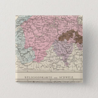 Religious and Linguistic Map of Switzerland 15 Cm Square Badge