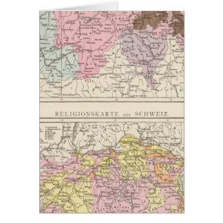 Religious and Linguistic Map of Switzerland Card