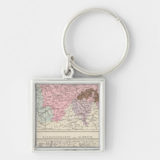 Religious and Linguistic Map of Switzerland Key Ring