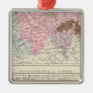 Religious and Linguistic Map of Switzerland Silver-Colored Square Decoration