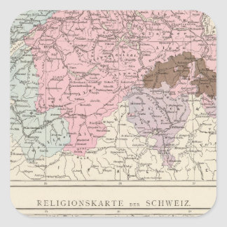 Religious and Linguistic Map of Switzerland Square Sticker