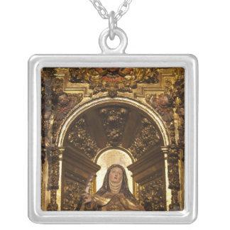 Religious art representing Santa Teresa 2 Silver Plated Necklace