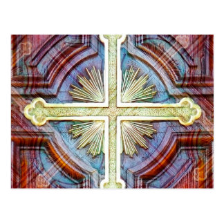 Religious christian cross symbol postcard