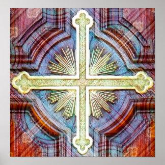 Religious christian cross symbol poster