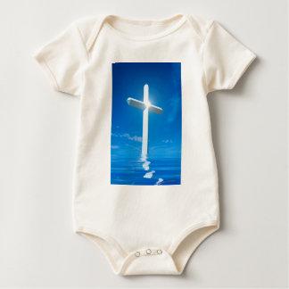 Religious Christianity White Cross Blue Water Bodysuit