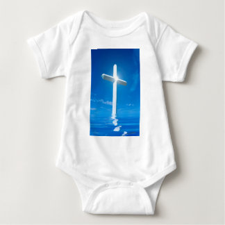 Religious Christianity White Cross Blue Water Tee Shirt