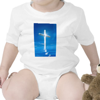 Religious Christianity White Cross Blue Water Rompers