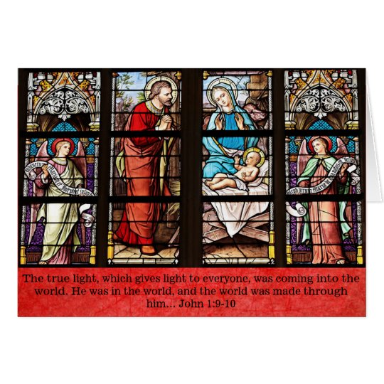 Religious Christmas Card, Stained Glass Church Card