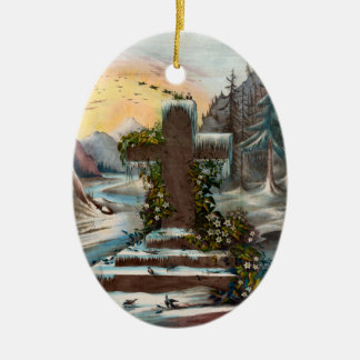 Religious Christmas Cross in Winter Ceramic Oval Decoration