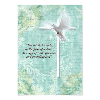 Religious confirmation dove 13 cm x 18 cm invitation card