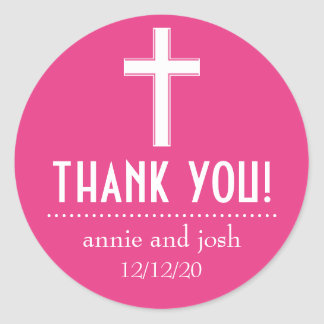 Religious Cross Thank You Labels (Dark Pink/White) Round Sticker
