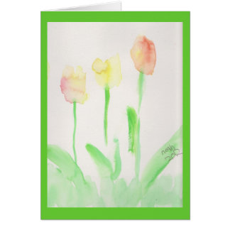 religious easter card watercolor tulips