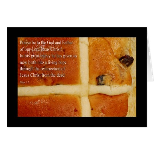 Religious Easter Card, with Hot Cross Bun Card