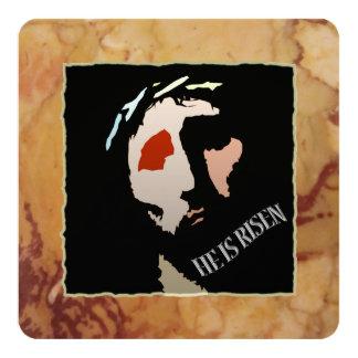 Religious Easter Jesus Bible Verse Quote Risen 13 Cm X 13 Cm Square Invitation Card