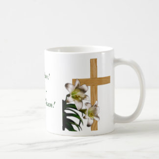 Religious Easter Mug - Lilies and Cross