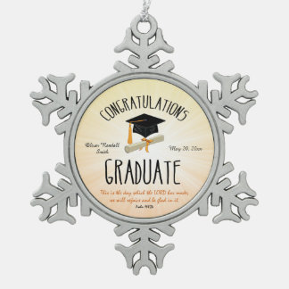 Religious Graduation Gold Starburst with Black Cap Snowflake Pewter Christmas Ornament