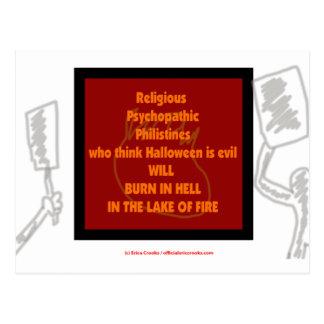 Religious lunatics who think Halloween is Evil... Postcard